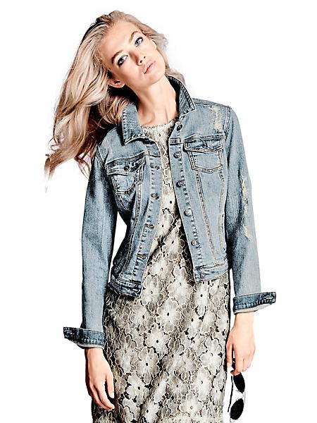 B.C. Best Connections - Veste en jean effet usé tendance, fermeture boutonnière