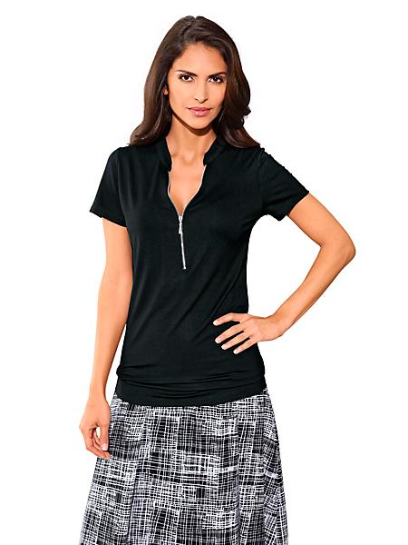 Patrizia Dini - T-shirt simple col en V zippé, forme fluide