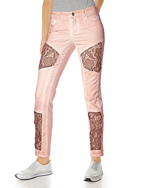 Linea Tesini - Pantalon en coton avec empiècements en dentelle