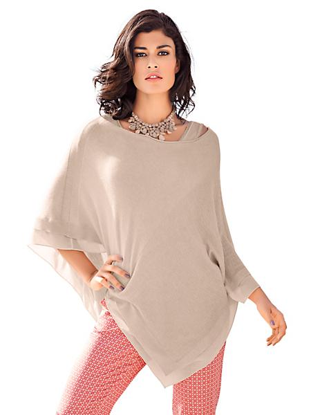 Patrizia Dini - Poncho femme en tricot fin uni forme moderne à col rond