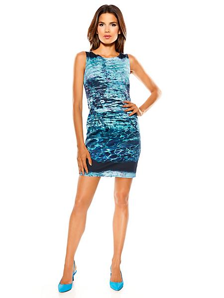 Ashley Brooke - Robe fourreau courte à imprimé océan