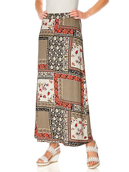 Linea Tesini - Jupe longue à imprimé patchwork fleuri tendance
