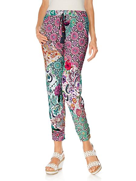Linea Tesini - Pantalon femme imprimé, taille élastique et coupe 7/8e