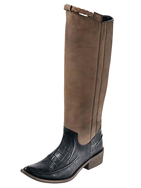 helline - Maxi-bottes en cuir marron et noir, talons plats