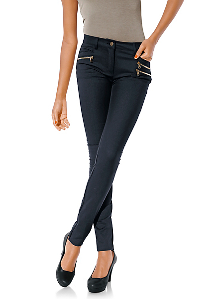Ashley Brooke - Pantalon stretch noir amincissant à poches zippées
