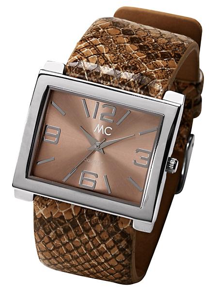 Mc - Montre femme à cadran rectangulaire, bracelet python