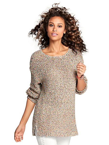 B.C. Best Connections - Pull-over manches longues pour femme, maille fantaisie