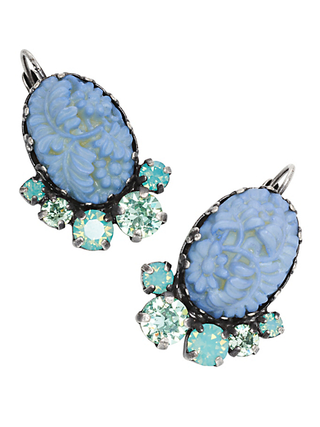 Konplott - Boucles d'oreilles pendantes style camées avec cristaux