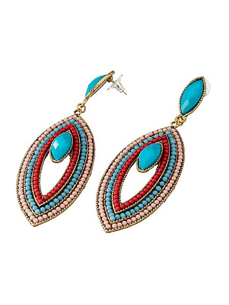 helline - Boucles d'oreilles fantaisie, perles colorées ethniques