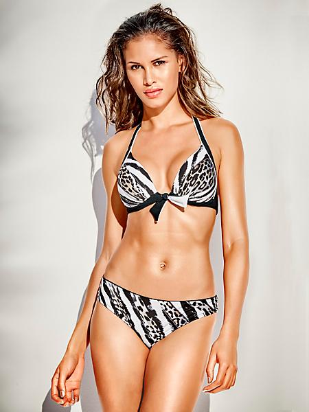 helline - Bikini à bonnets souples, imprimé savane avec nœud