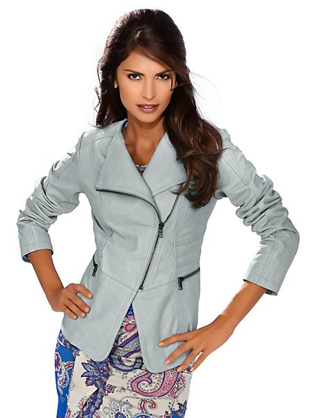 Ashley Brooke - Veste courte en cuir nappa avec glissière asymétrique