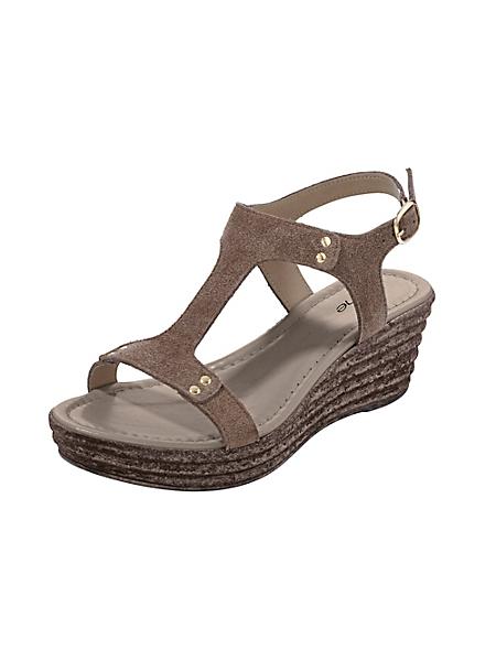helline - Sandales compensées femme en cuir velours souple