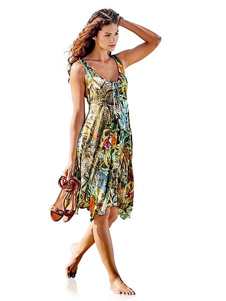 B.C. Best Connections - Robe d'été imprimée à motif tropical, bretelles larges