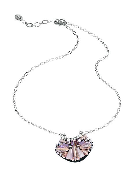 helline - Collier chaine maille fine à pendentif chic en pierres