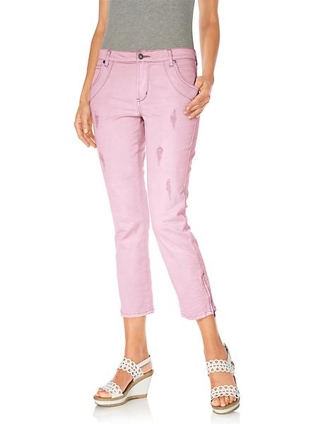 B.C. Best Connections - Pantalon 7/8e femme en jean coloré et déchirures