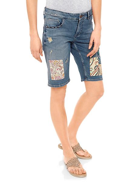 Mandarin - Bermuda en jean femme décontracté et pièces de tissu