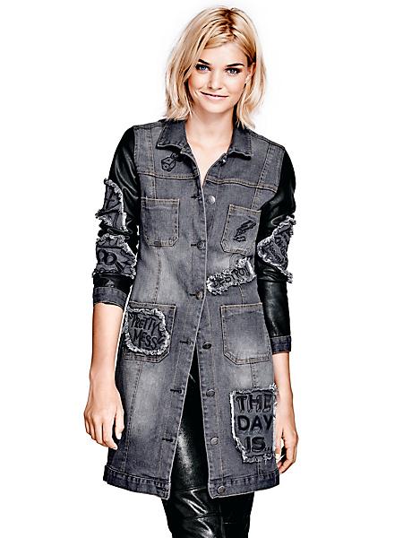 B.C. Best Connections - Veste longue en jean usé femme, manches aspect peau