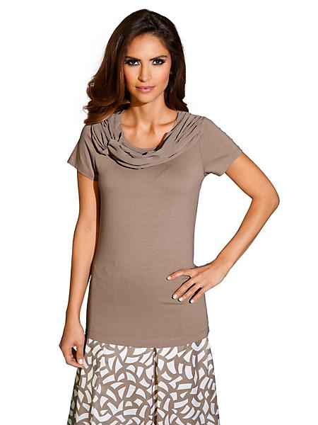Patrizia Dini - T-shirt cintré femme élégant à col large drapé