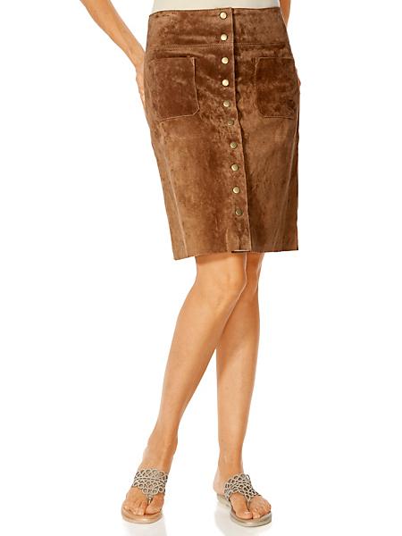 Rick Cardona - Jupe 70'S courte en cuir velours à boutons et poches