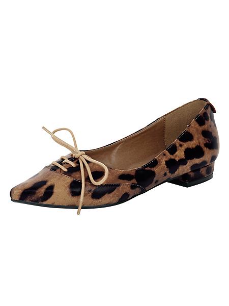 helline - Ballerines en cuir léopard féminin et lacets déco femme