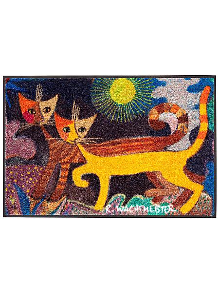 Efia (Salonlöwe) - Tapis paillasson tendance avec chats colorés imprimés