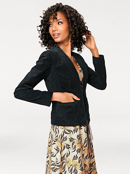 Ashley Brooke - Veste en cuir velours cintrée amincissante, à poches