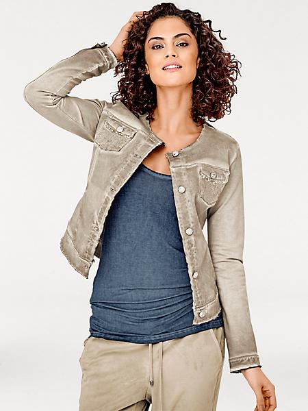 Linea Tesini - Veste en jean originale style batik, poches pailletées
