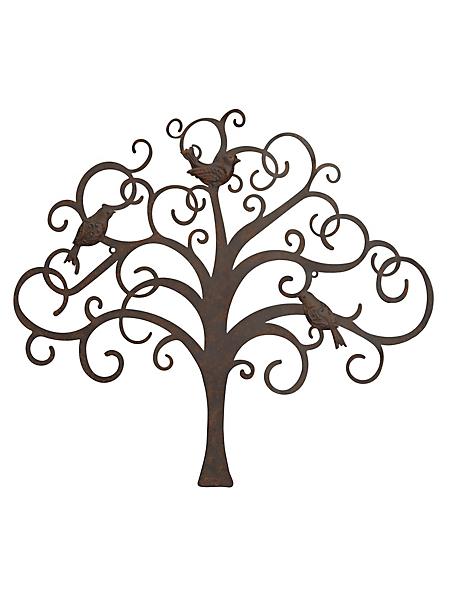 helline home - Décoration murale, arbre et oiseaux en métal vieilli