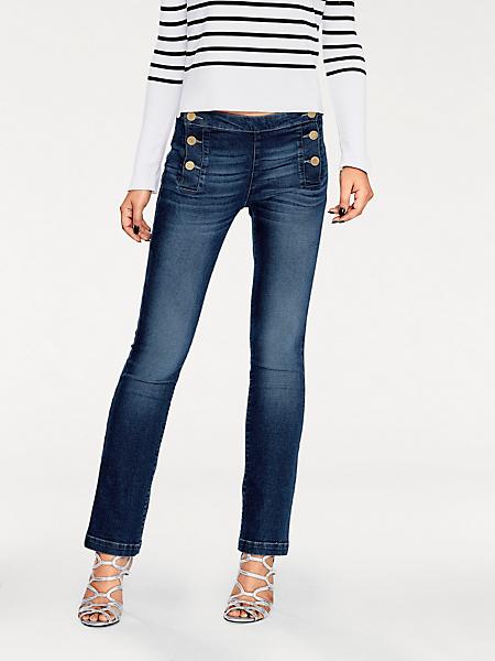 B.C. Best Connections - Jean bootcut femme à poches plaquées et boutons déco