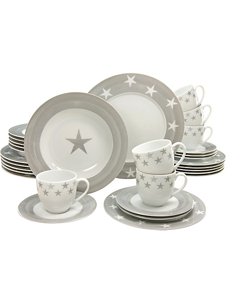 CREATABLE - Service complet CreaTable en porcelaine, 30 pièces, »étoiles«