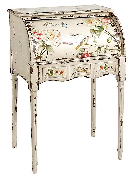 helline home - Secretaire en bois avec peinture florale vieillie