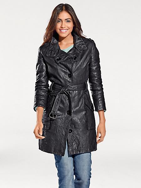 B.C. Best Connections - Manteau en cuir original pour femme, ceinture à nouer