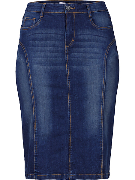 SHEEGO DENIM - Jupe en jean avec coutures transversales Sheego Denim