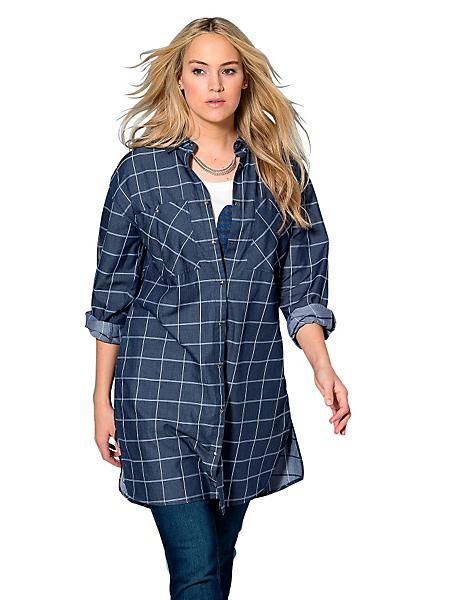 Sheego Casual - SHEEGO CASUAL blouse in lang model met blokruitje