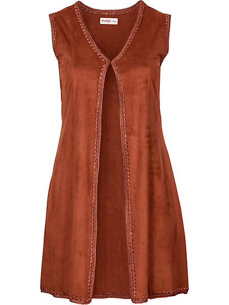 Sheego Style - Gilet long sheego Style en synthétique aspect peau velours