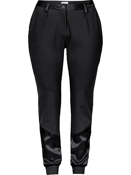 Sheego Style - Pantalon bouffant sheego avec empiècement en satin