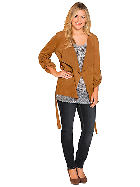 Sheego Style - Veste à l'aspect cuir velours Sheego Style