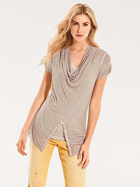 B.C. Best Connections - T-shirt mode femme à col bénitier, coupe courte ajustée