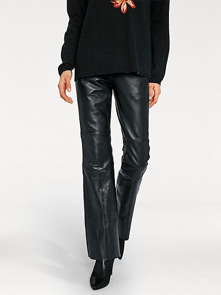 Rick Cardona - Pantalon en cuir femme, coupe évasée tendance, à poches