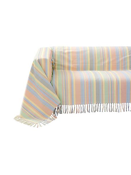helline home - Jeté de canapé, plaid 100% coton à rayures multicolores