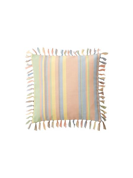 helline home - Housse de coussin rayée 100% coton avec franges