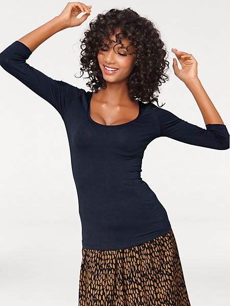 Ashley Brooke - T-shirt basique femme à manches 3/4, effet amincissant