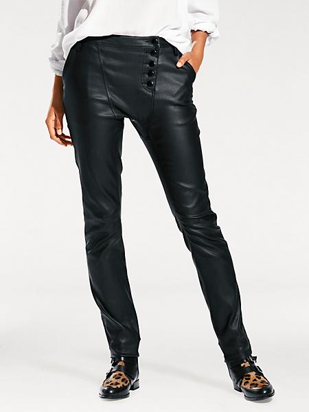 B.C. Best Connections - Pantalon slim noir en simili, boutons asymétriques