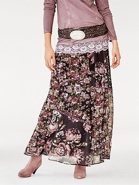 Linea Tesini - Jupe longue en voile fluide à imprimé floral tendance