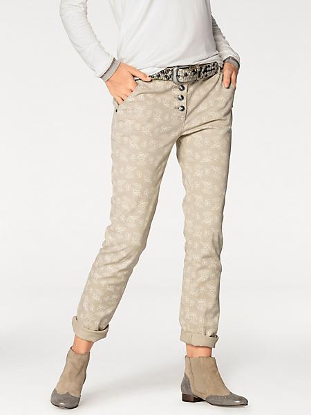 Rick Cardona - Pantalon slim beige et blanc, à imprimé moderne