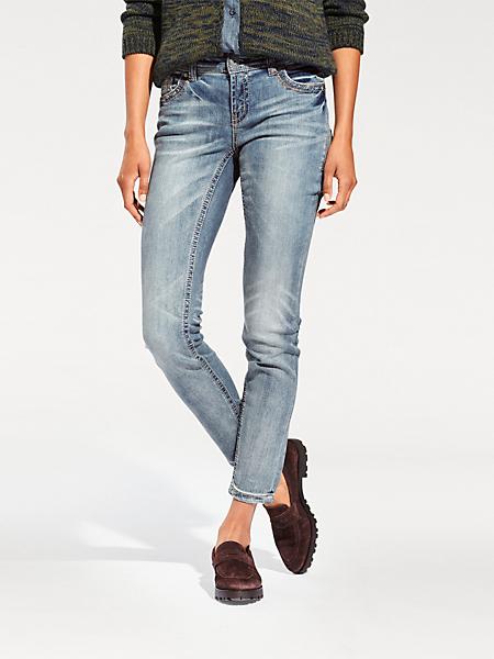 B.C. Best Connections - Jean slim stretch délavé pour femme, poches à strass
