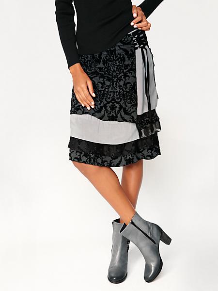 Linea Tesini - Jupe originale en patchwork, coupe mi-longue évasée