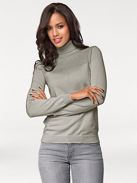 Patrizia Dini - Pull col roulé femme en tricot fin ajouré