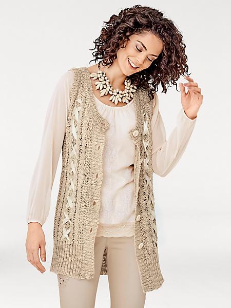 Linea Tesini - Gilet long en tricot sans manches à motifs torsadés