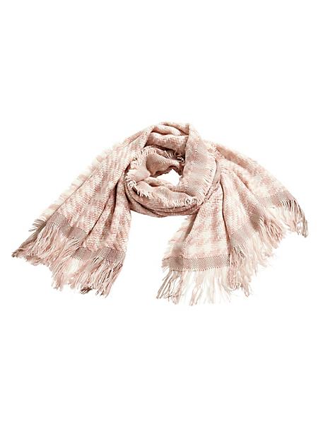 helline - Grande écharpe douce motif pied de poule, bords frangés